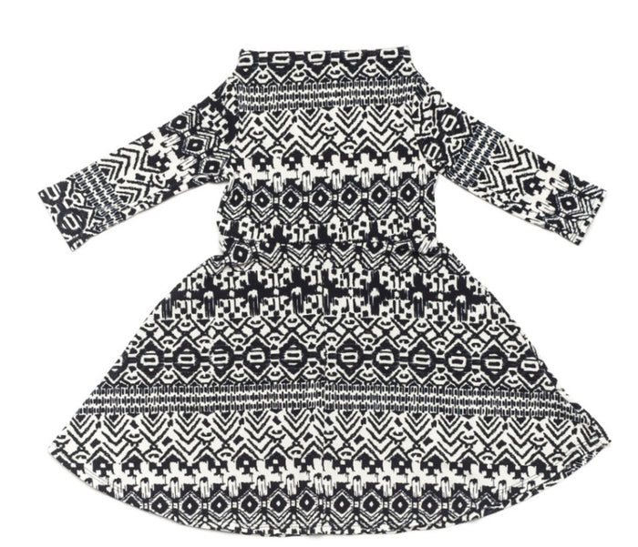 Ode to Jeune Cindy Girls Dress Swing Skirt Navy Aztec