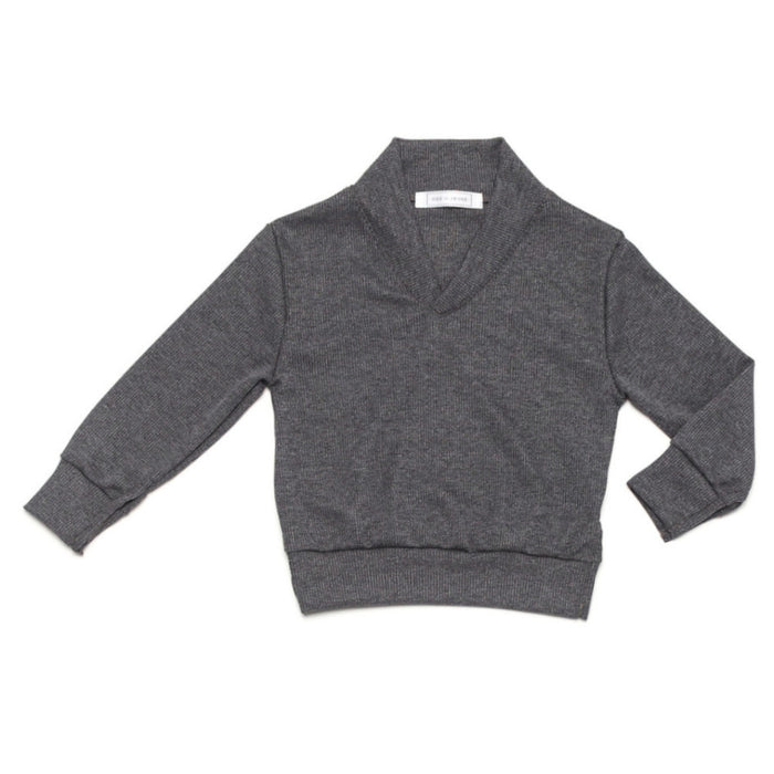 Ode to Jeune Baker Boys Sweater Shawl Collar Slate Grey