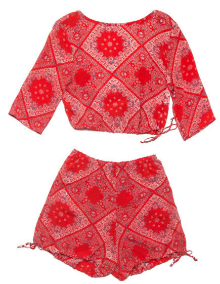 Ode to Jeune Colette Blouse Paisley Pattern Crop Top with Colette Bloomers Paisley Pattern Shorts