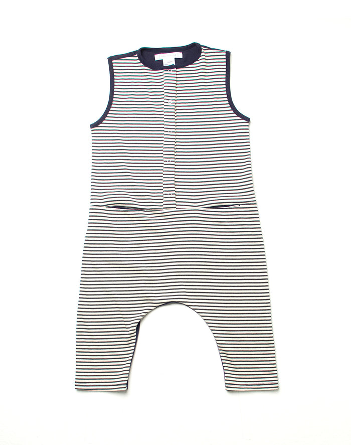 Lucca Romper - Nautico with Navy Contrast