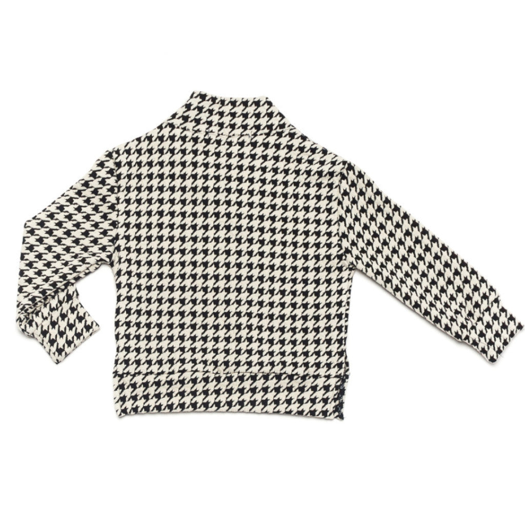 Ode to Jeune Baker Boys Sweater Shawl Collar Houndstooth Ponte Back