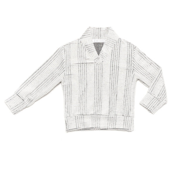 Ode to Jene Baker Boys Sweater Shawl Collar Winter White Front
