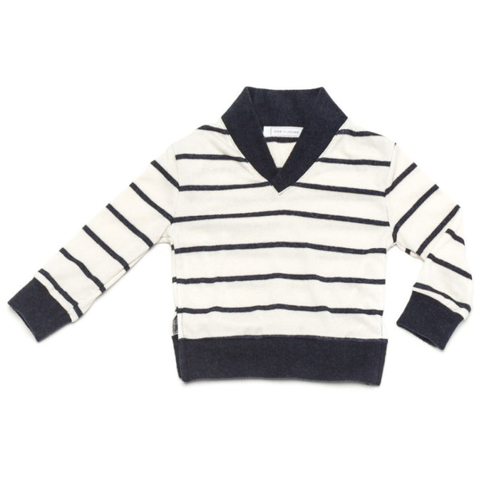 Ode to Jeune Baker Boys Sweater Shawl Collar Navy Stripe