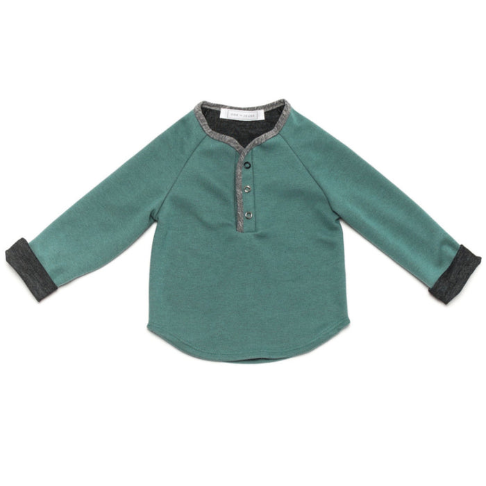 Ode to Jeune Hansel Soft Tee Long Sleeves Grass Charcoal Green Grey