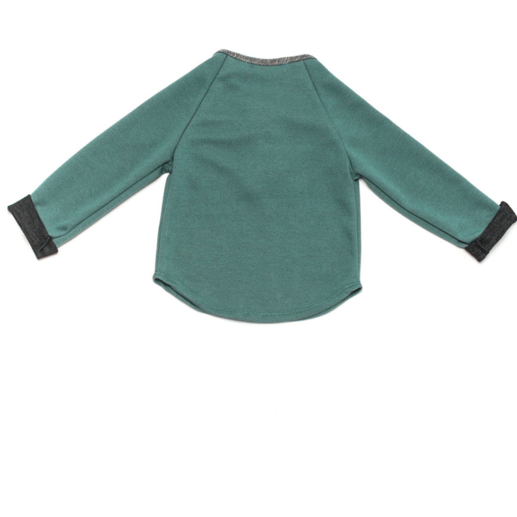Ode to Jeune Hansel Soft Tee Long Sleeves Grass Charcoal Green Grey Back