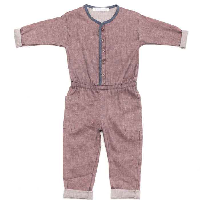 Ode to Jeune Harp Jumper Kids Jumpsuit Red Chambray