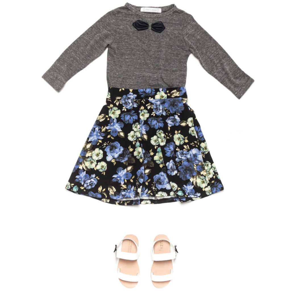 Ode to Jeune Tessa Circle Skirt Midnight Blossom Blue Floral with Gretel Soft Girls Bow Tee Long Sleeves Heather Grey