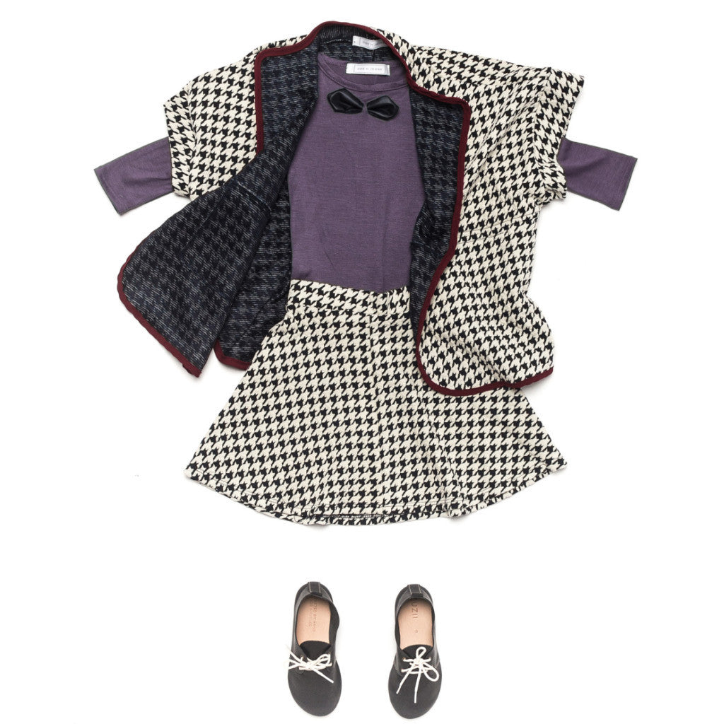 Ode to Jeune Tessa Circle Skirt Houndstooth Ponte with Little Red Cape Houndstooth Ponte and Gretel Soft Girls Bow Tee Long Sleeves Lavender Purple