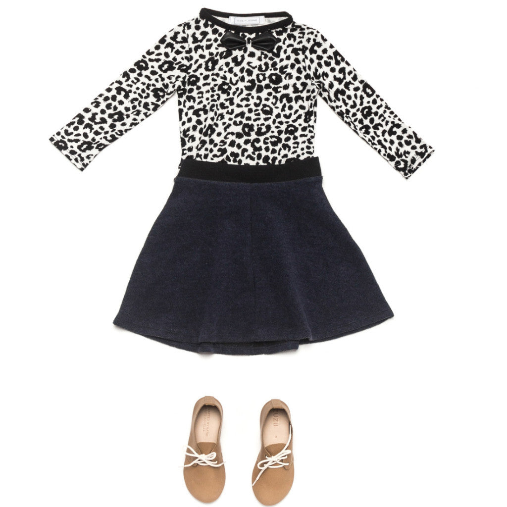 Ode to Jeune Tessa Circle Skirt Navy Fleece with Gretel Soft Girls Bow Tee Long Sleeves Snow Leopard Animal Print