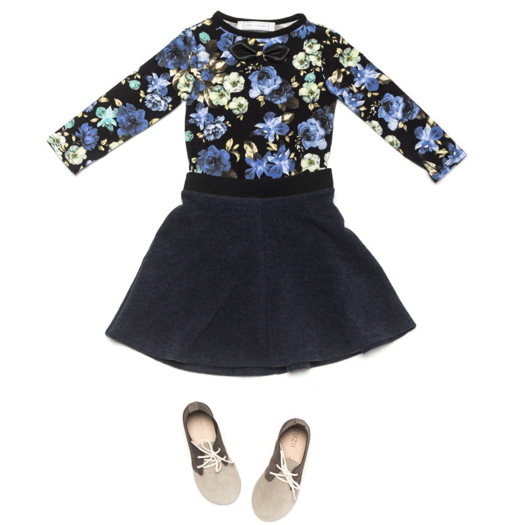 Ode to Jeune Tessa Circle Skirt Navy Fleece with Gretel Soft Girls Bow Tee Long Sleeves Midnight Blossom Blue Floral