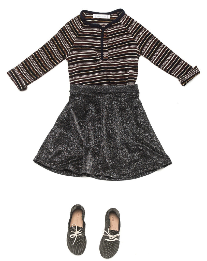 Ode to Jeune Tessa Circle Skirt Glitter with Hansel Soft Tee Long Sleeves Autumn Stripe