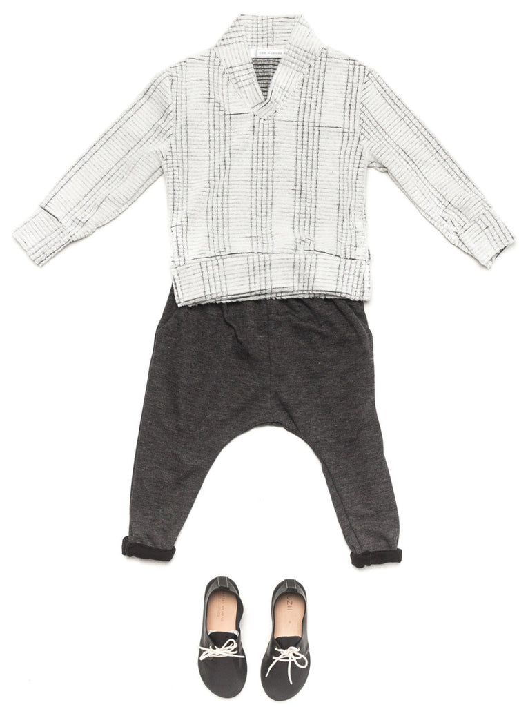Ode to Jene Baker Boys Sweater Shawl Collar Winter White with Bro Boys Pant Charcoal
