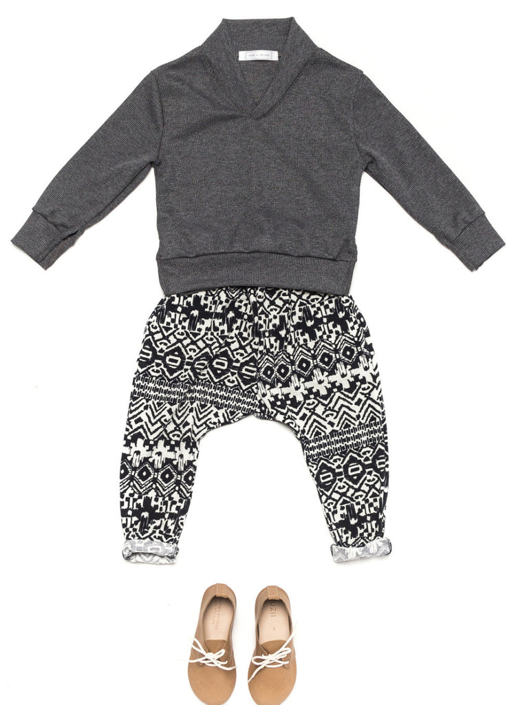 Ode to Jeune Baker Boys Sweater Shawl Collar Slate Grey with Bro Boys Pant Navy Aztec