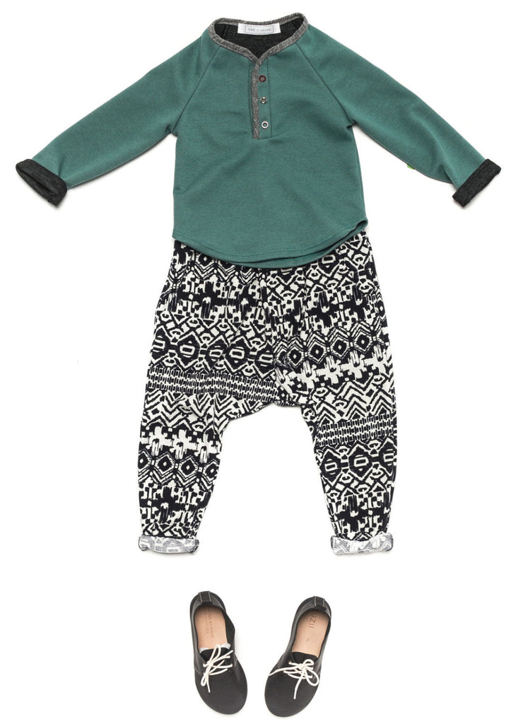 Ode to Jeune Hansel Soft Tee Long Sleeves Grass Charcoal Green Grey with Bro Pant Boys Pant Girls Pant Navy Aztec