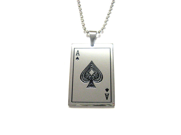 Ace of Spades Card Pendant Necklace