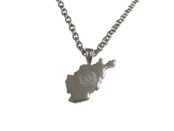 Afghanistan Map Shape and Flag Design Pendant Necklace