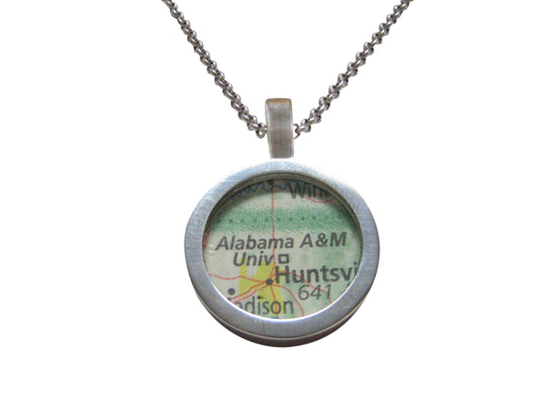 Alabama A and M University Map Pendant Necklace