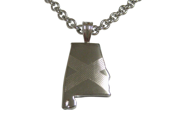 Alabama State Map Shape and Flag Design Pendant Necklace
