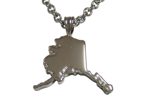 Alaska State Map Shape Pendant Necklace