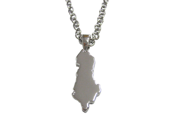 Albania Map Shape Pendant Necklace