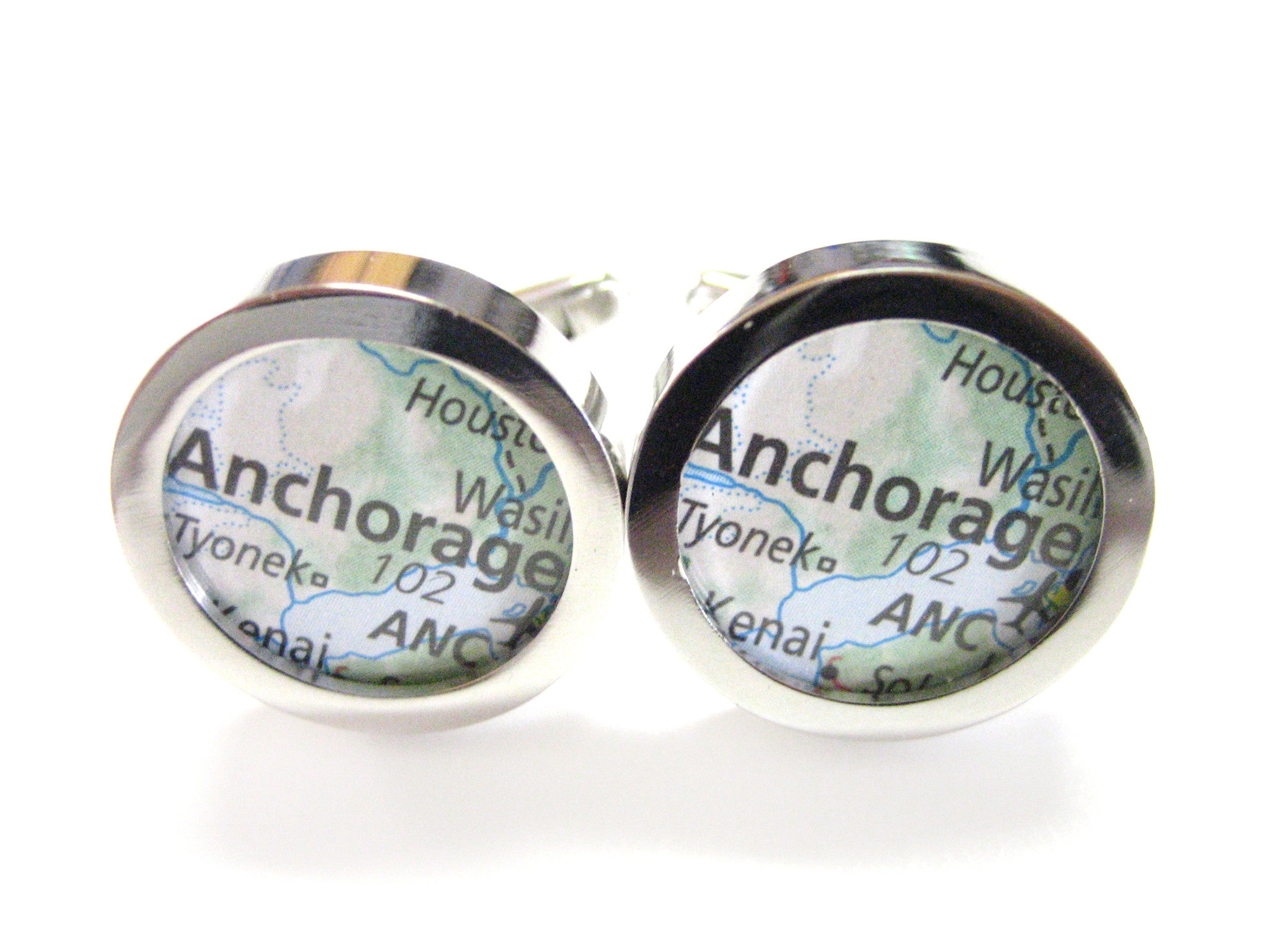 Anchorage Alaska Map Cufflinks