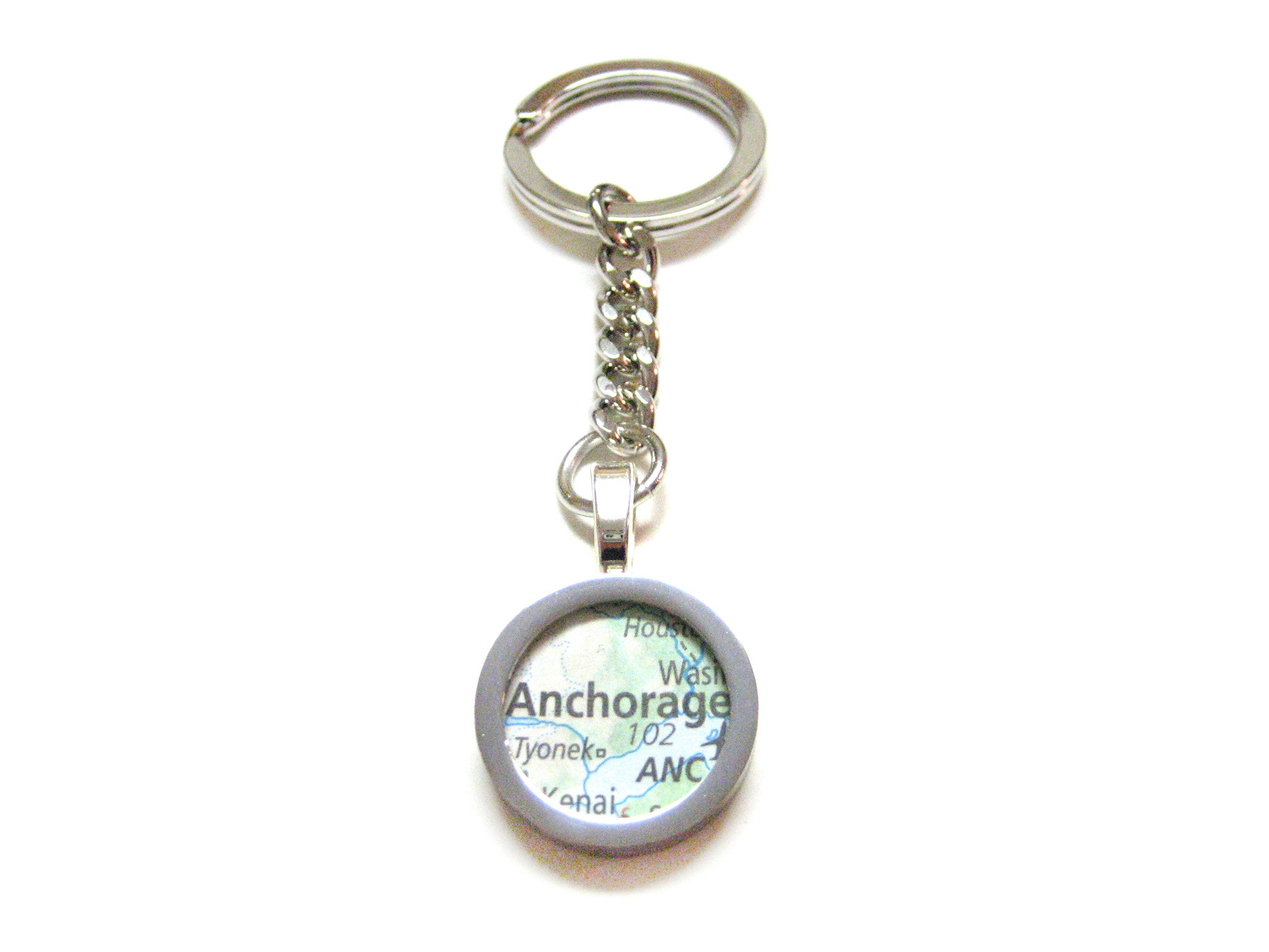 Anchorage Alaska Map Pendant Keychain