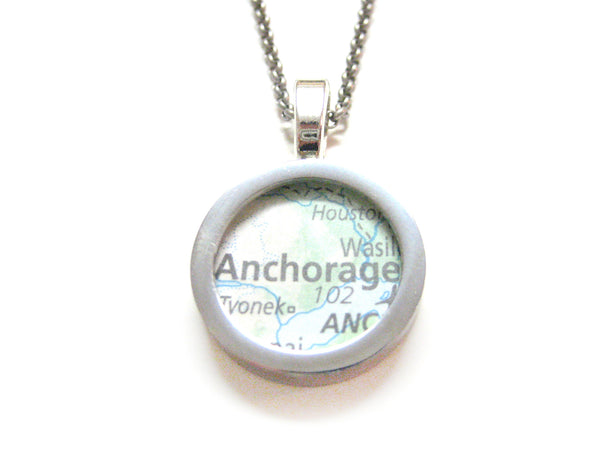 Anchorage Alaska Map Pendant Necklace