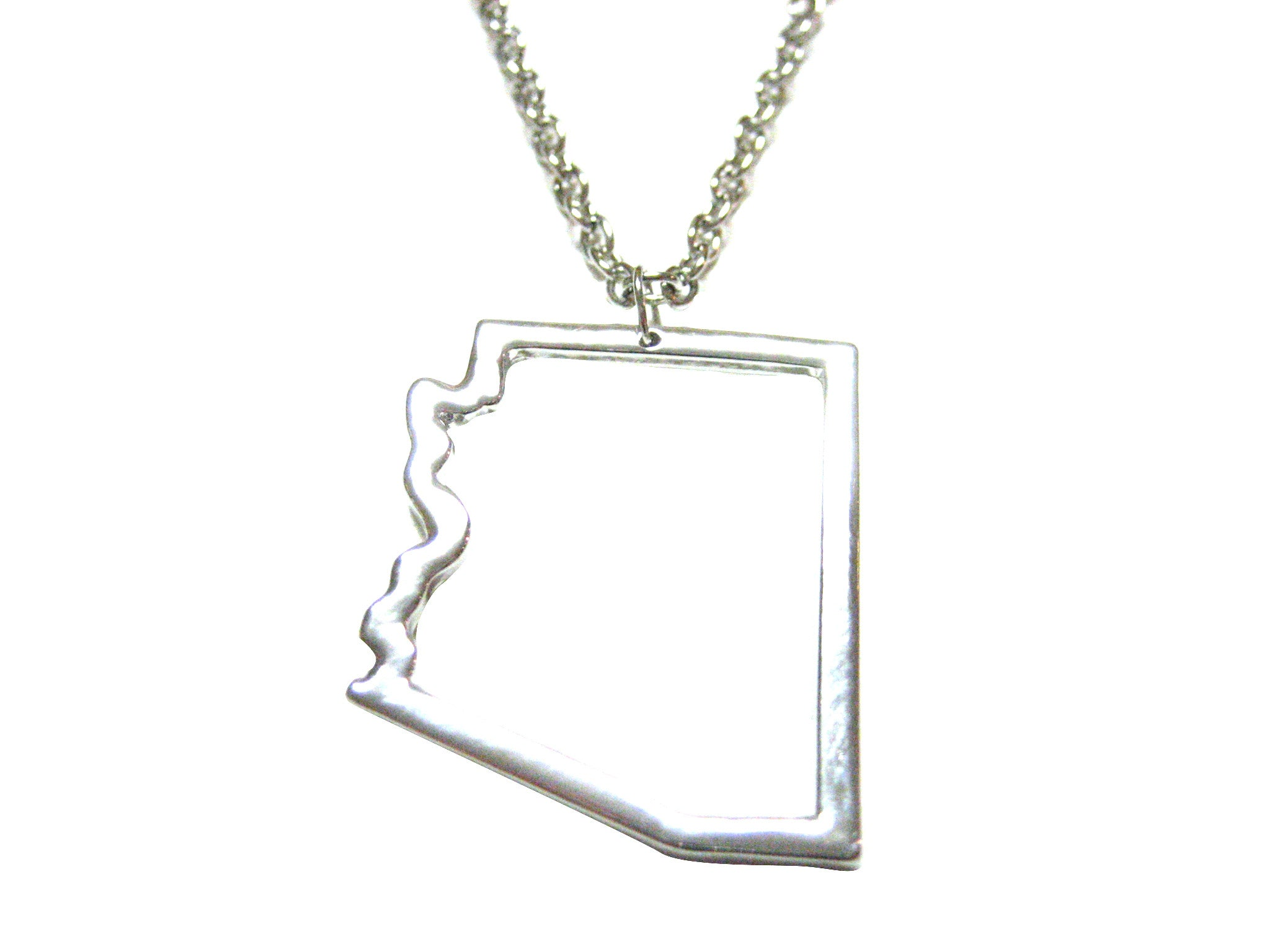Silver Toned Arizona State Map Outline Pendant Necklace