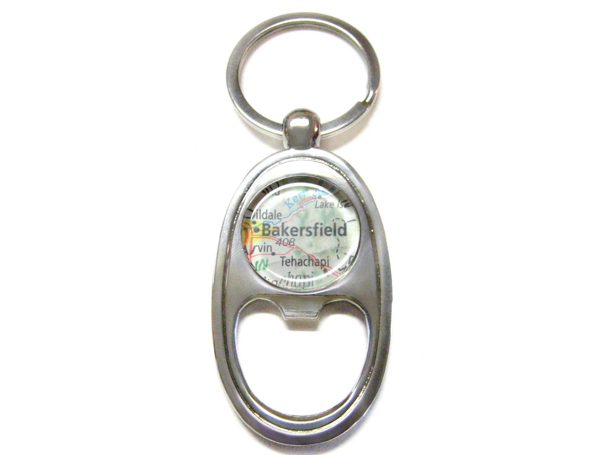 Bakersfield California Map Bottle Opener Key Chain