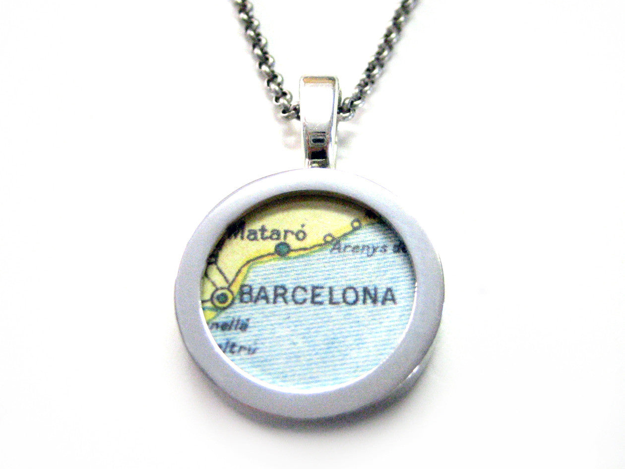 Barcelona Map Pendant Necklace