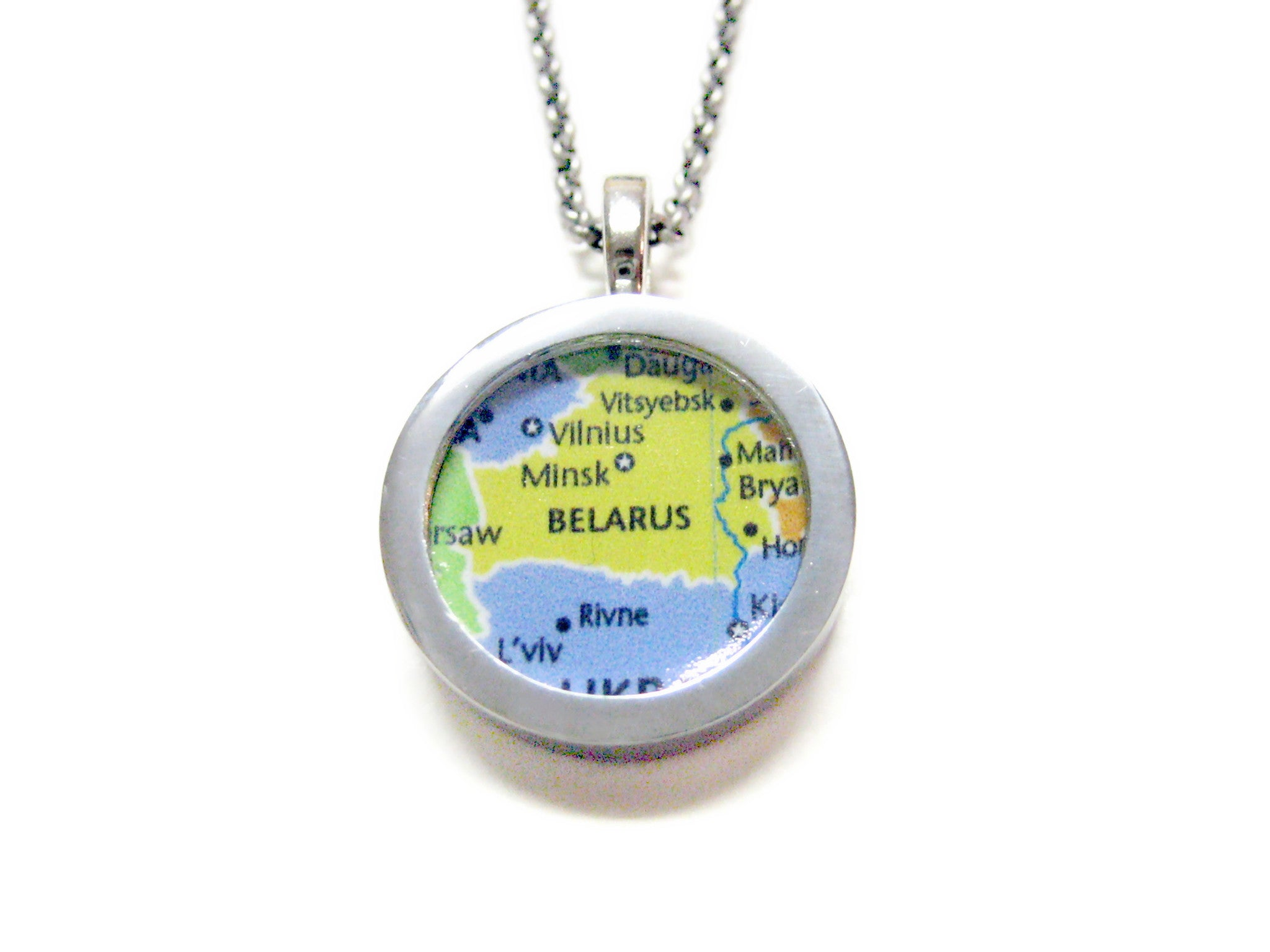 Belarus Map Pendant Necklace