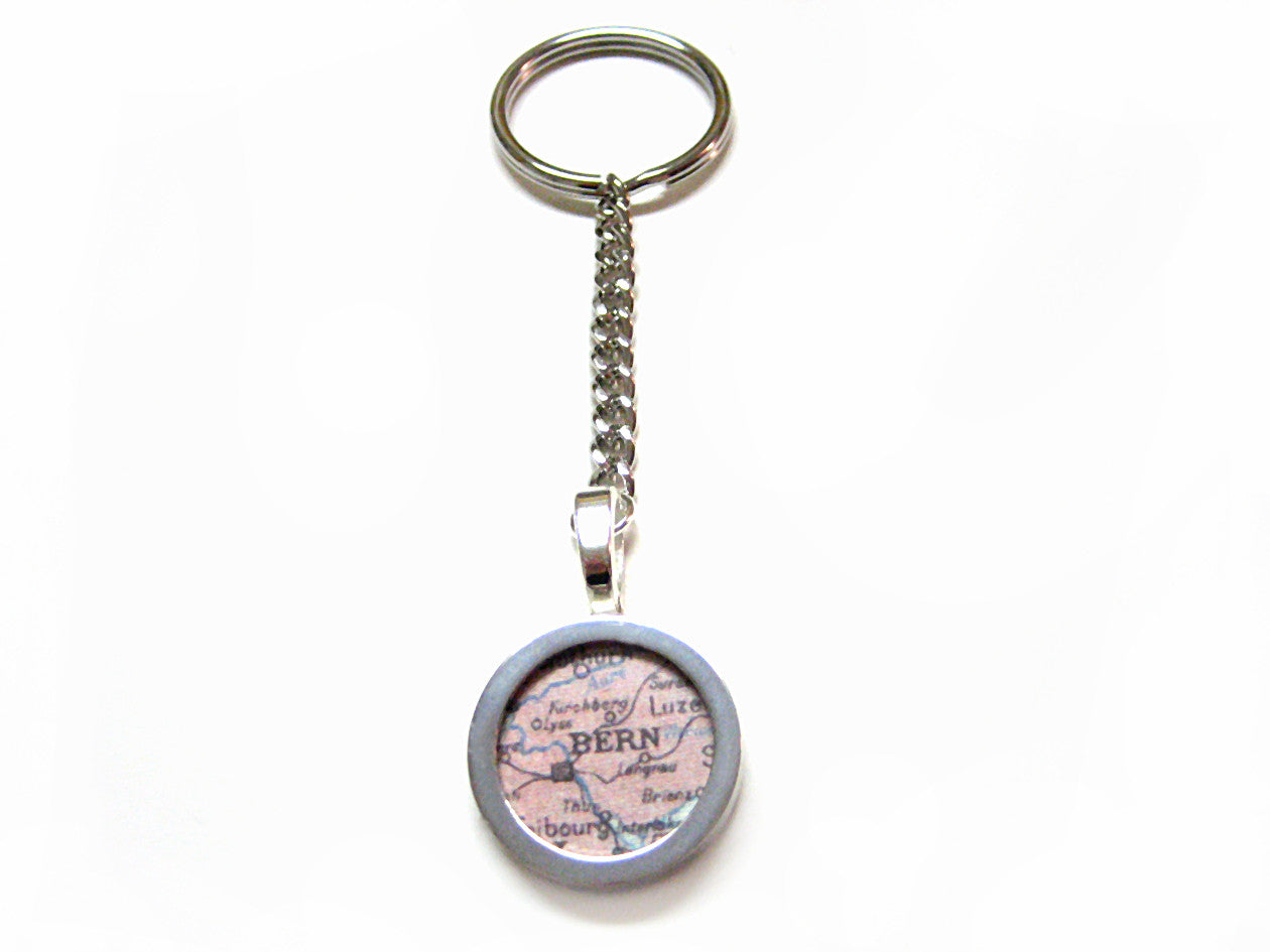 Bern Map Key Chain