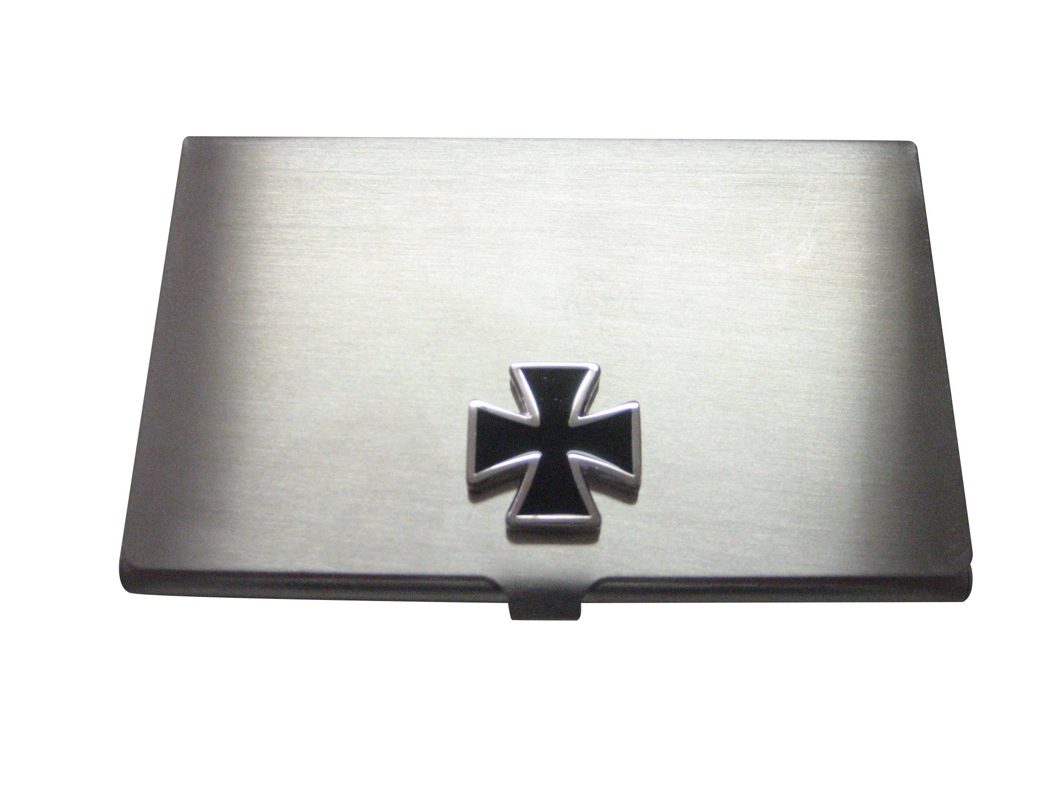Business Card Holder with Black Cross Pendant