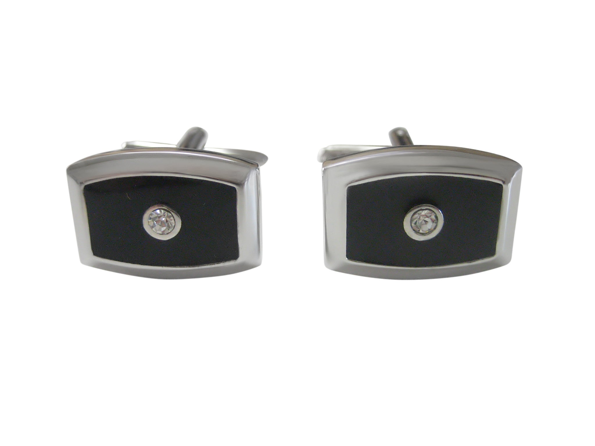 Black Design with Center Crystal Cufflinks