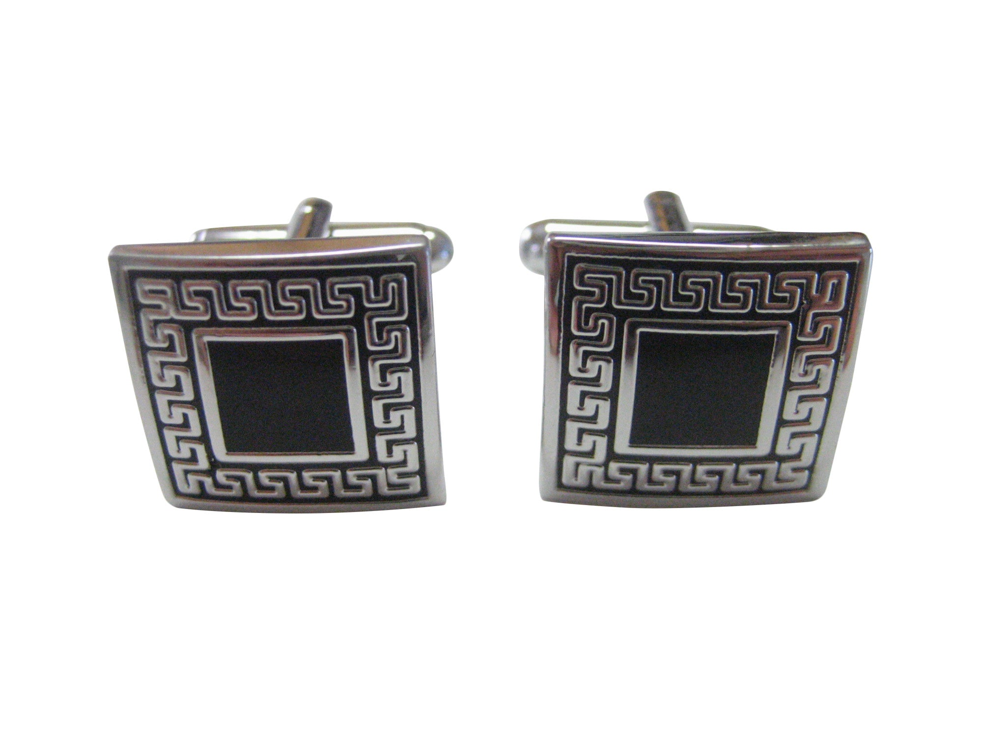 Black Greek Square Design Cufflinks