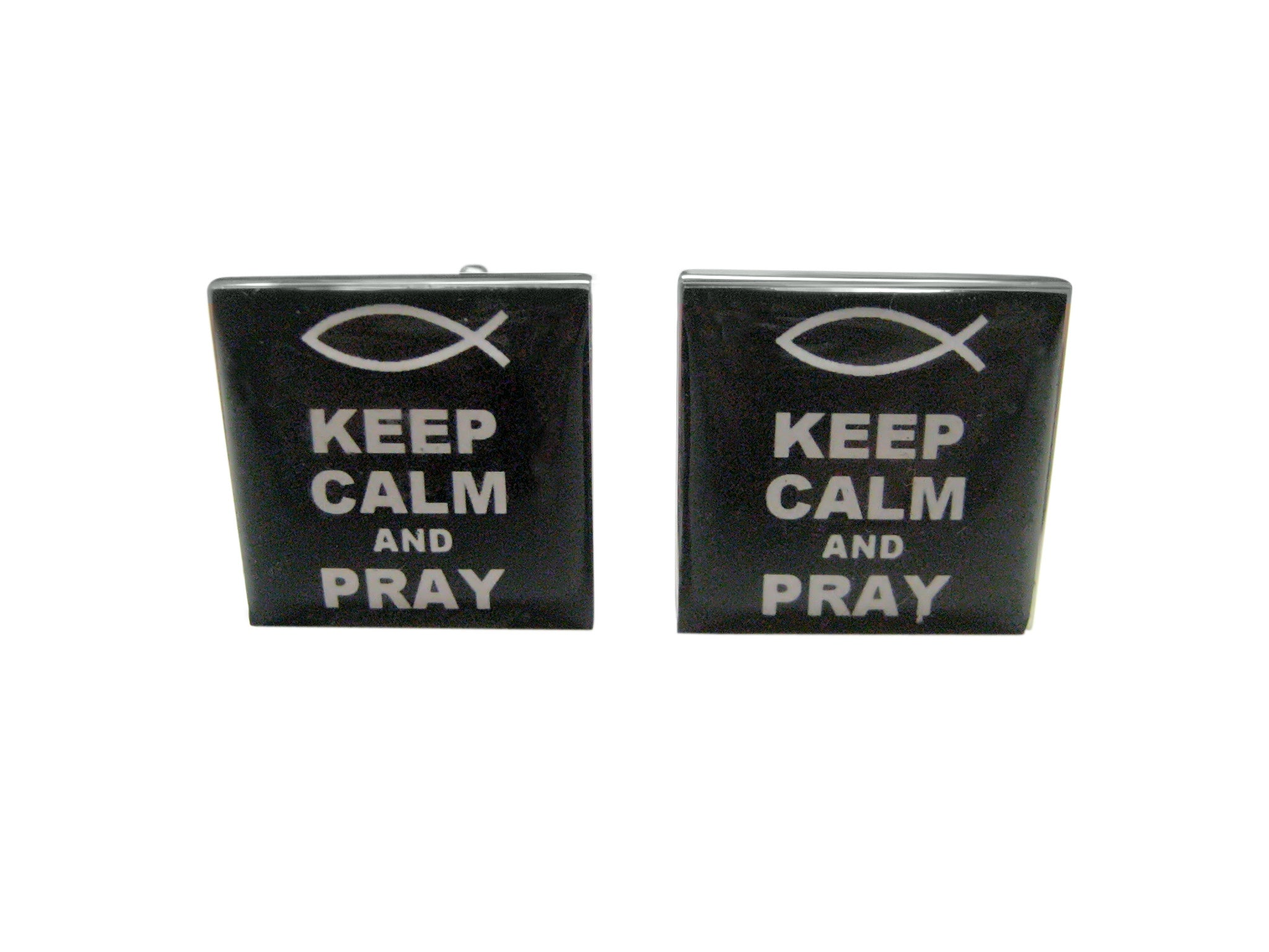 Black Keep Calm and Pray Cufflinks