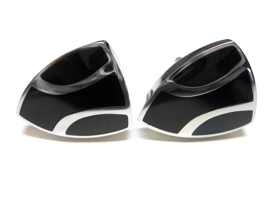 Black Shield Cufflinks with Silver Stripes