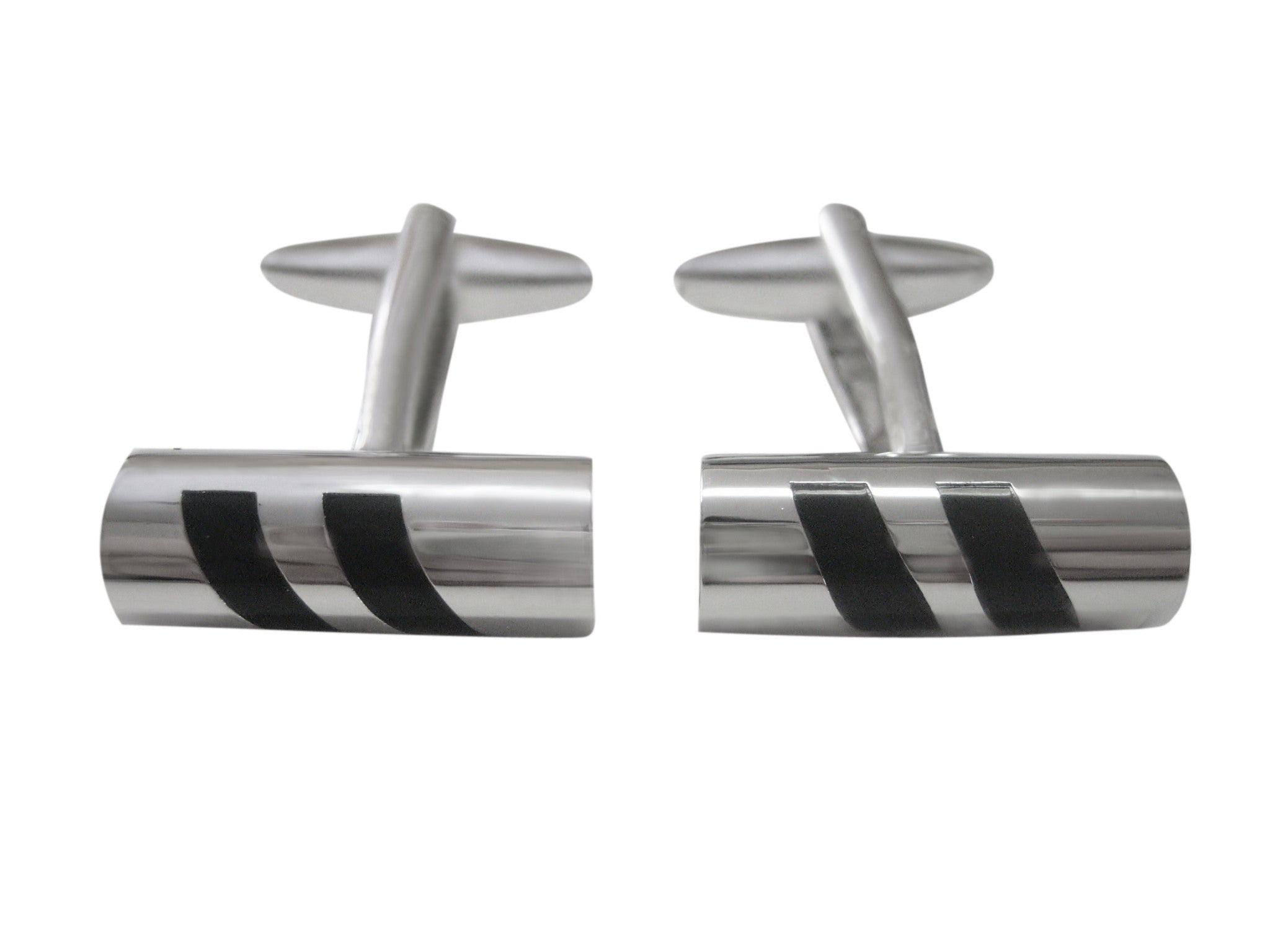 Black Slanted Stripped Cylinder Design Cufflinks