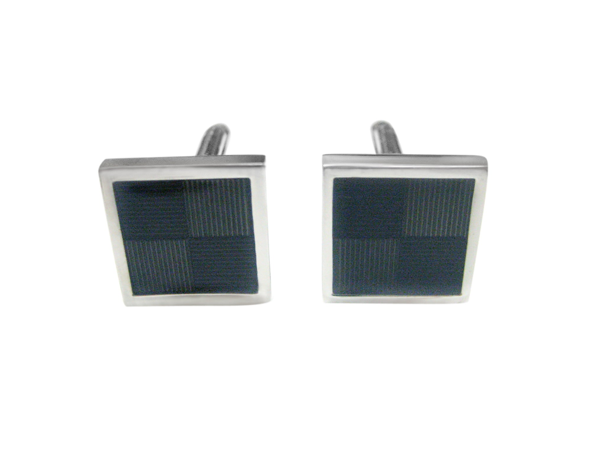 Black and Gray Geometric Design Cufflinks