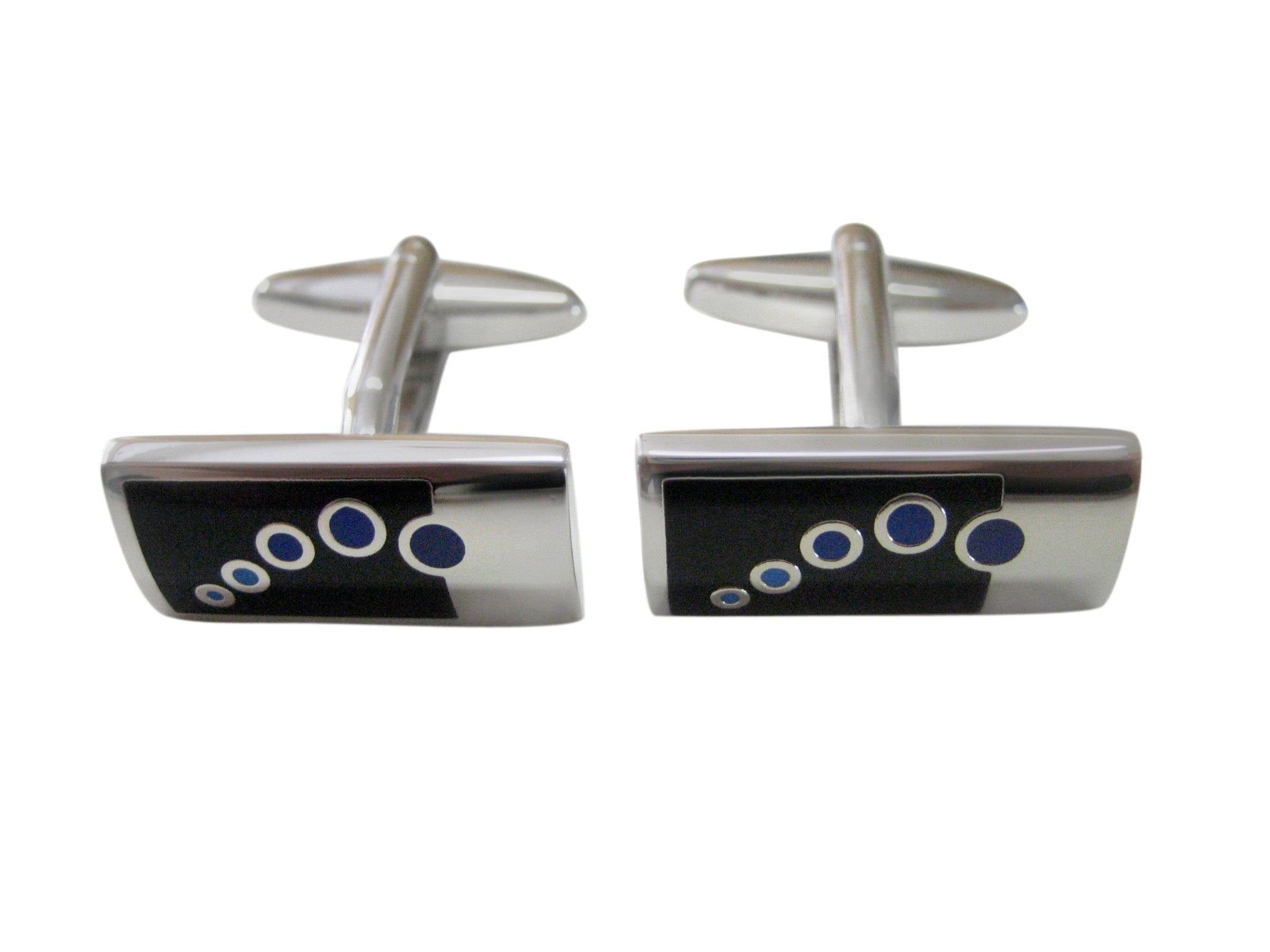 Black and Silver Design Cufflinks with Blue Circles