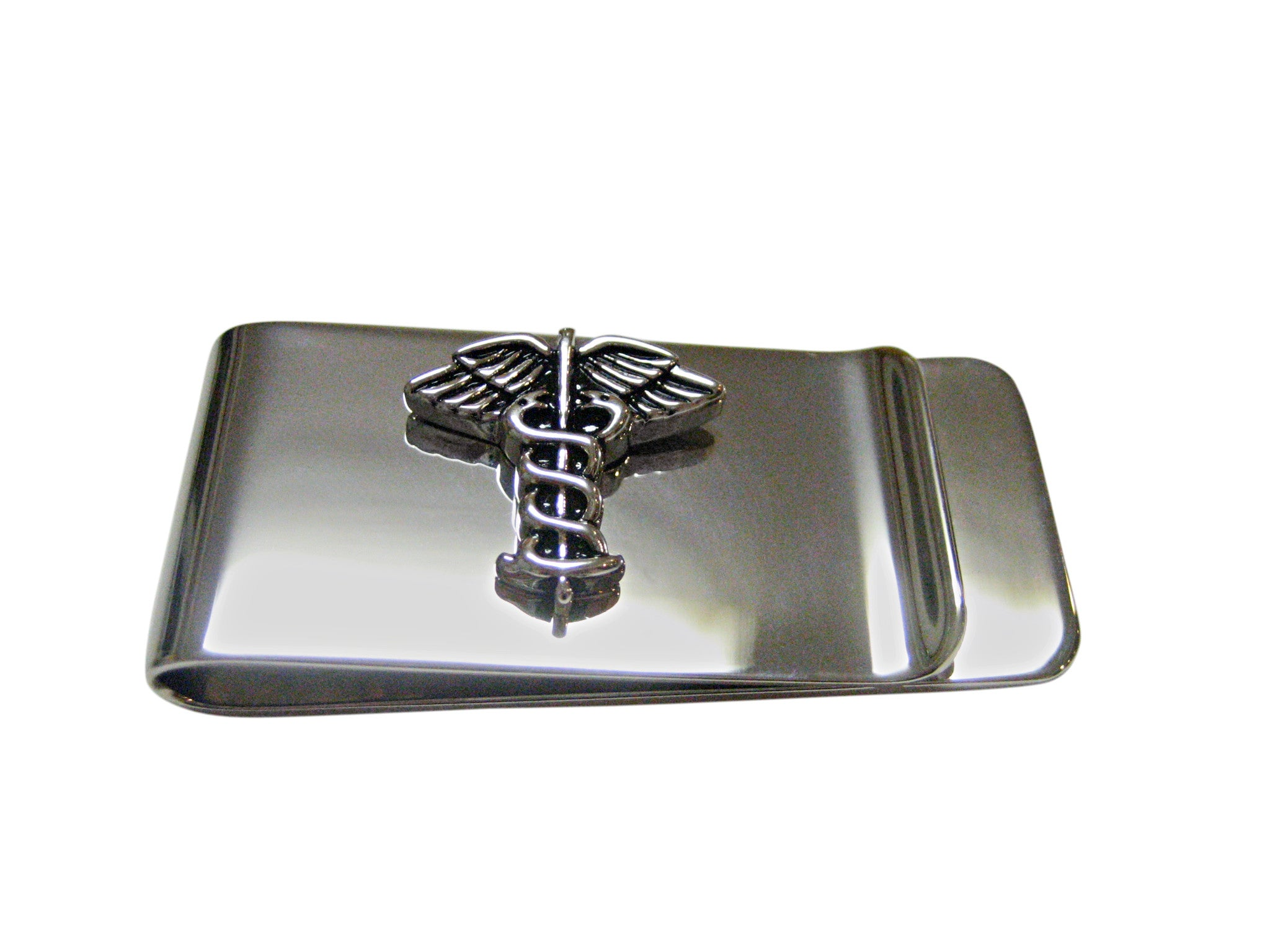 Black and Silver Toned Caduceus Medical Symbol Money Clip