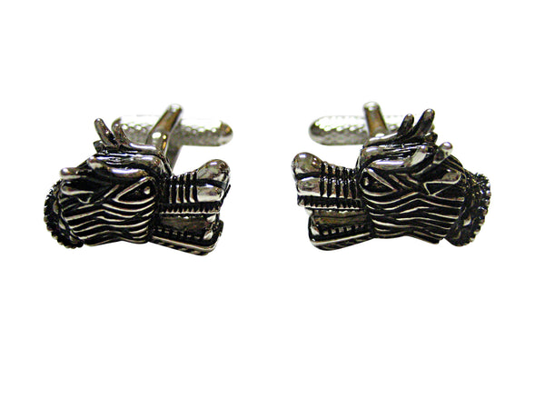 Black and Silver Toned Dragon Head Cufflinks