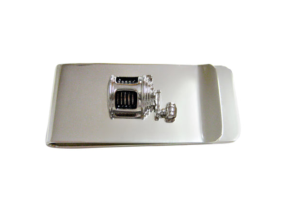 Black and Silver Toned Fishing Reel Money Clip