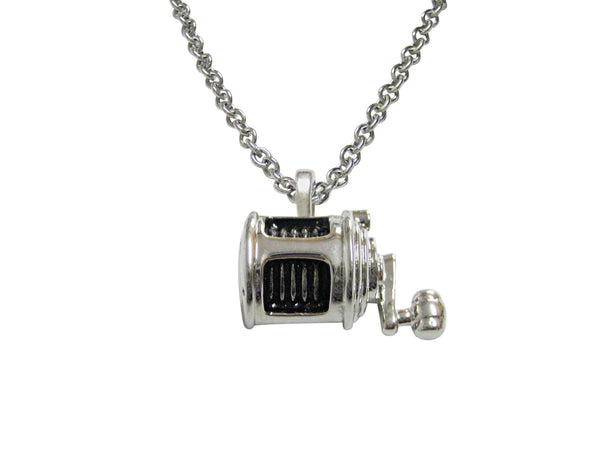 Black and Silver Toned Fishing Reel Necklace