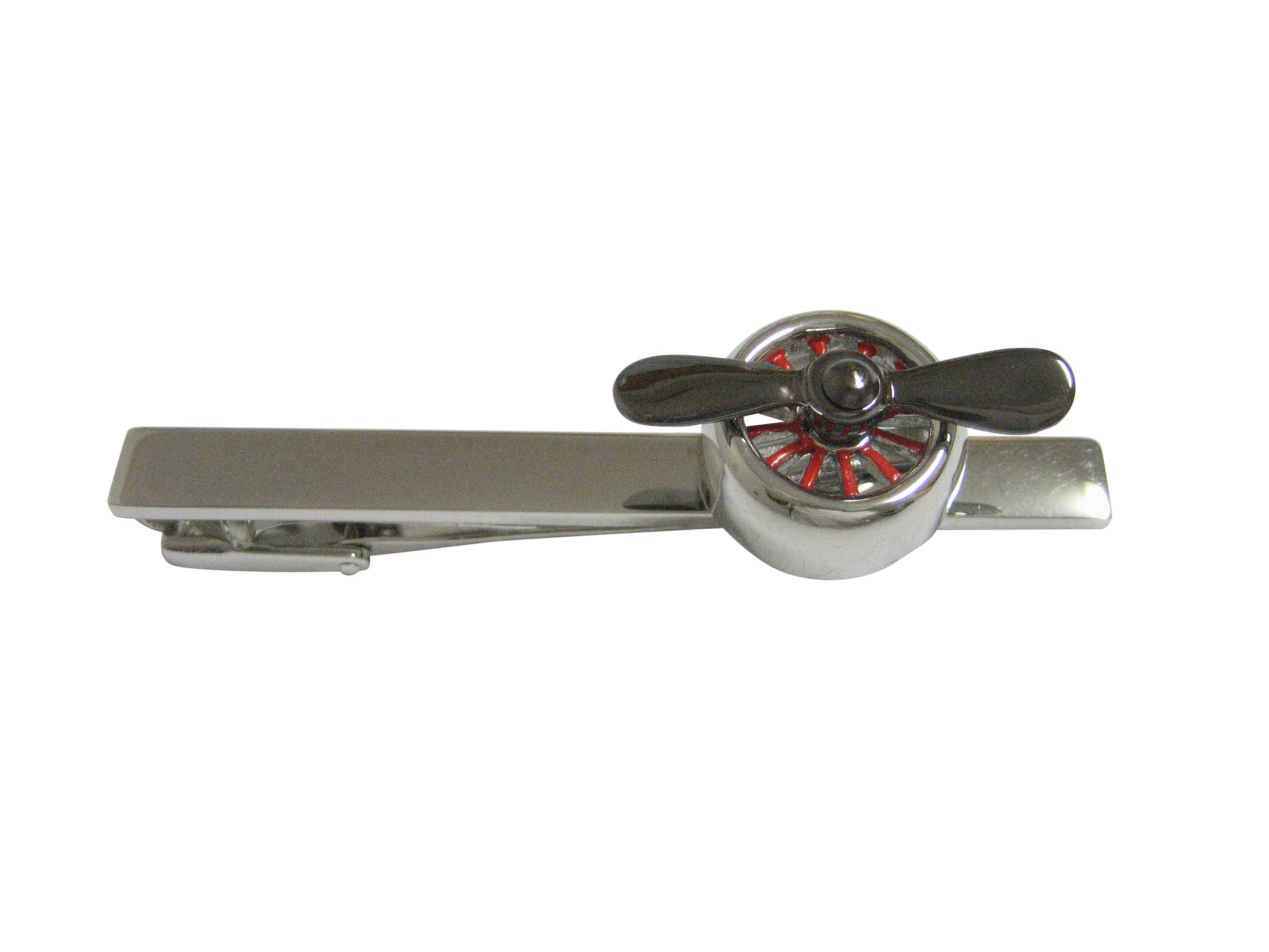 Black and Silver Toned Plane Propeller Square Tie Clip