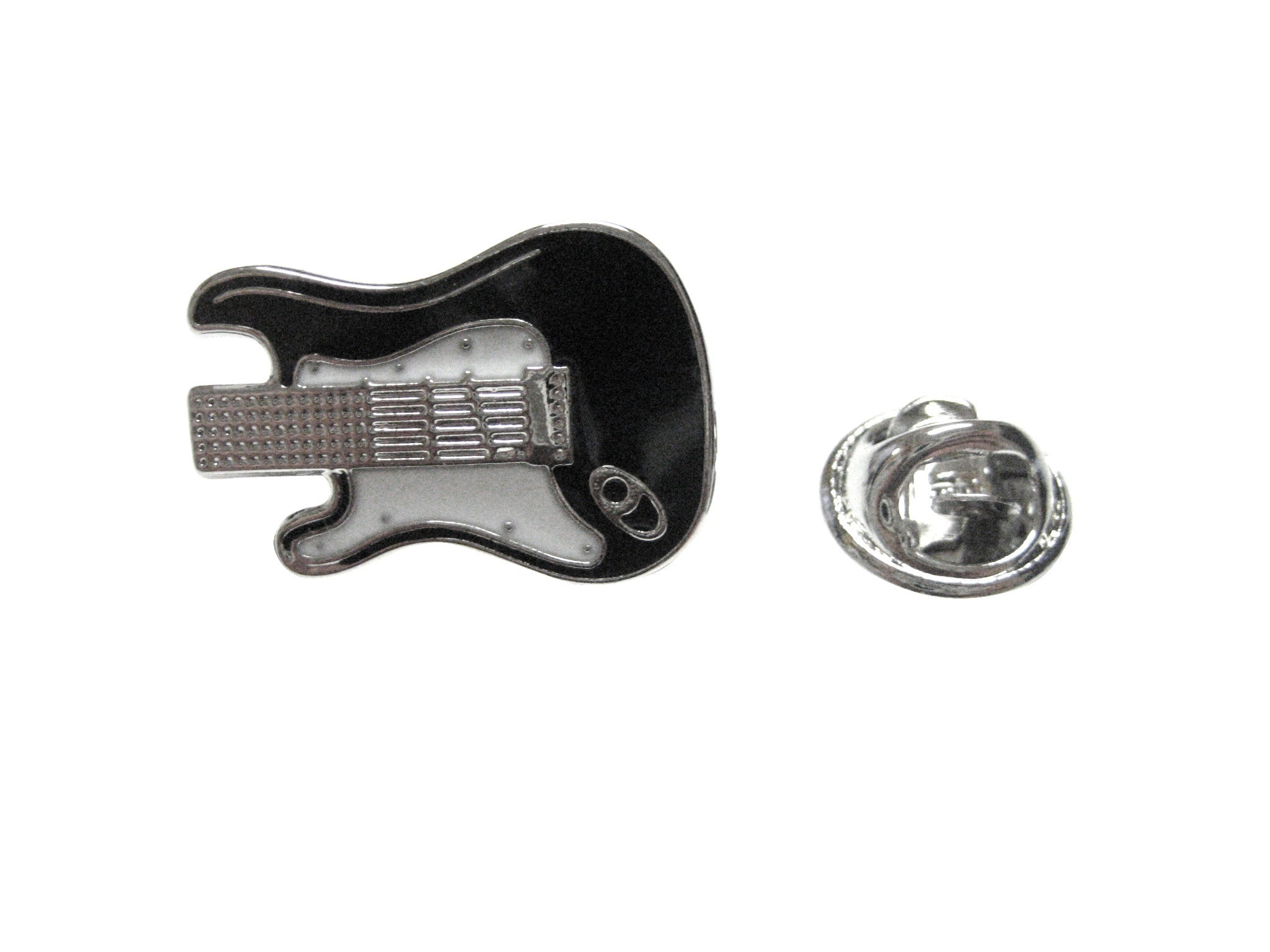 Black and White Toned Guitar Musical Instrument Lapel Pin