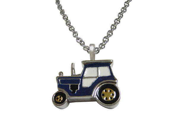 Blue Classic Farm Tractor Pendant Necklace