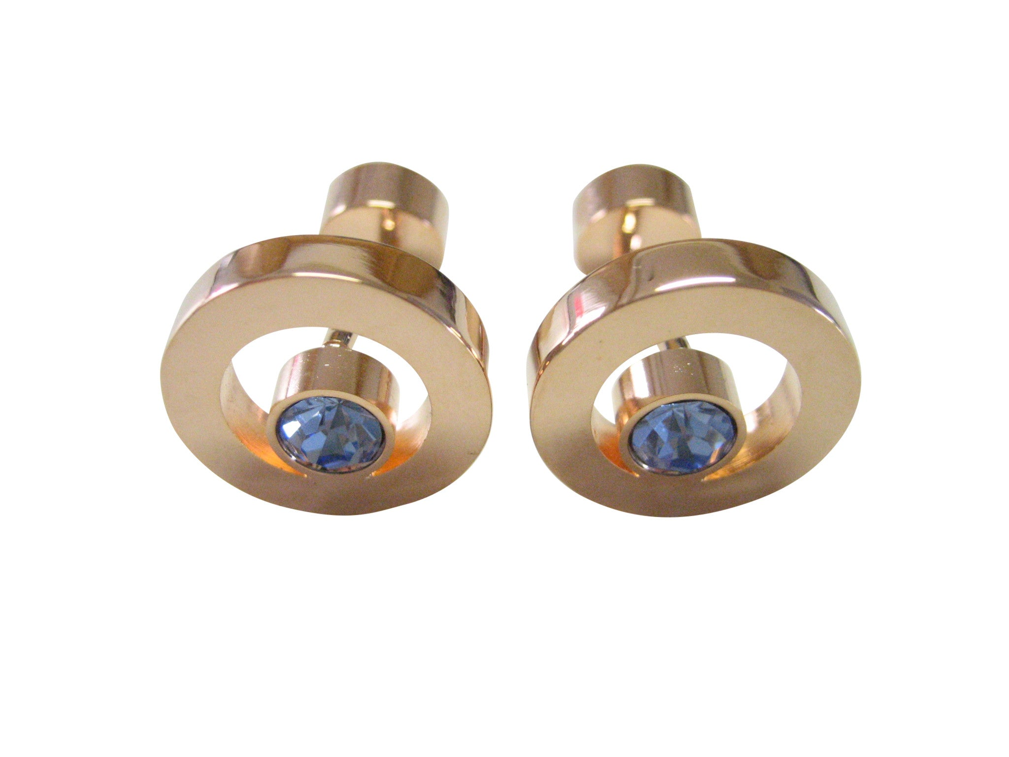 Blue Gem Circle Design Cufflinks