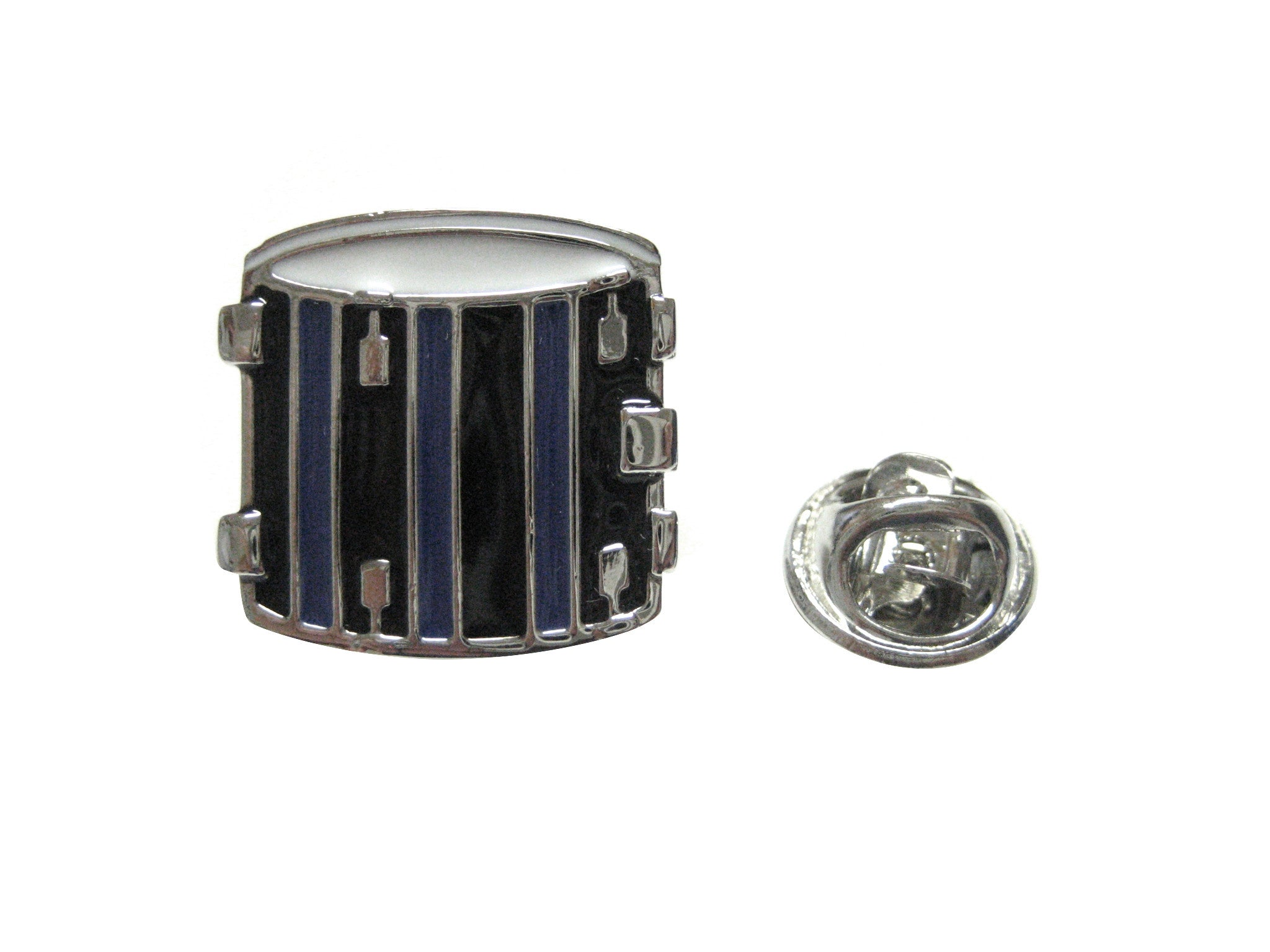 Blue and Black Toned Drum Musical Instrument Lapel Pin