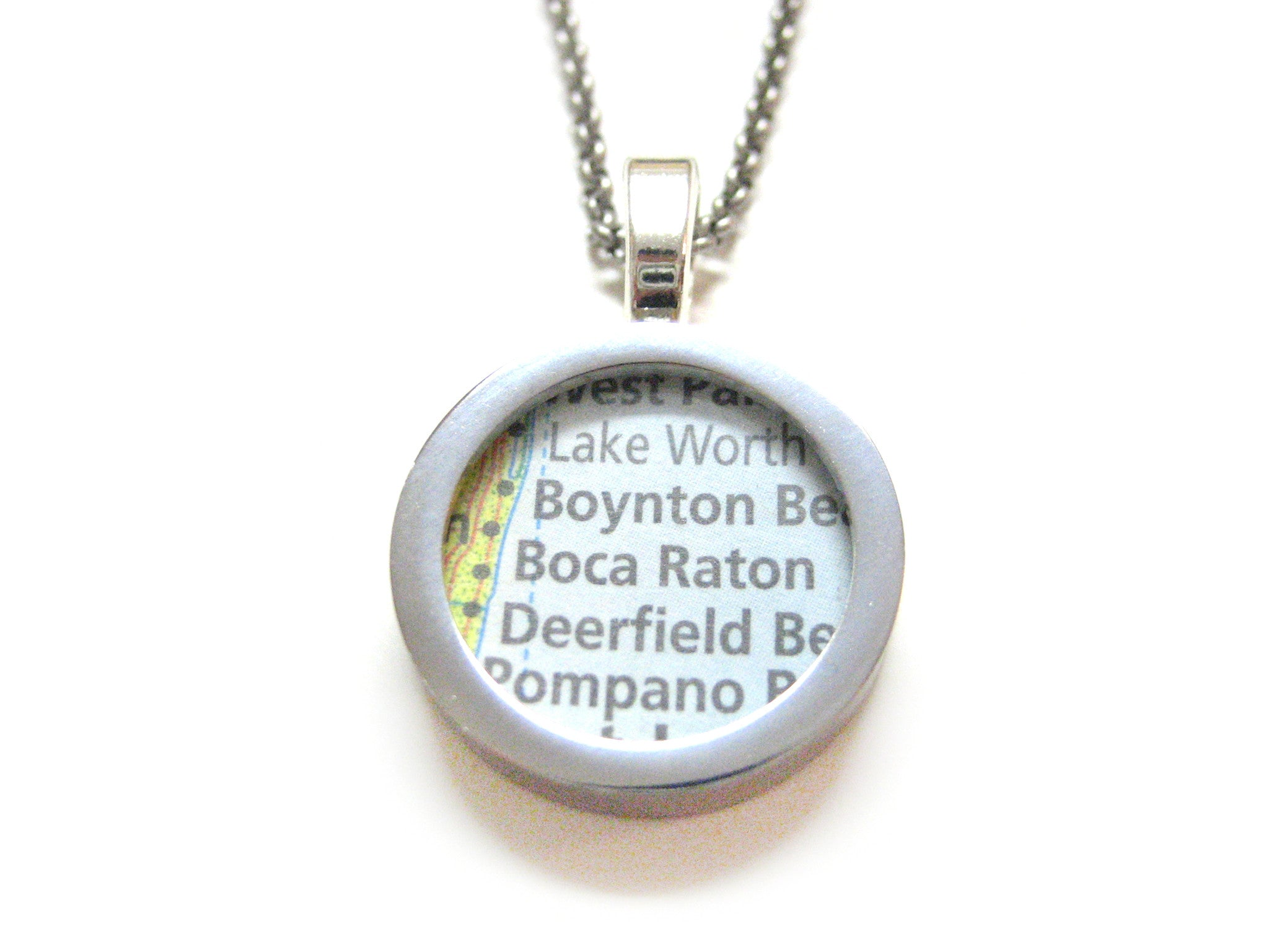 Boca Raton Florida Map Pendant Necklace Kiola Designs